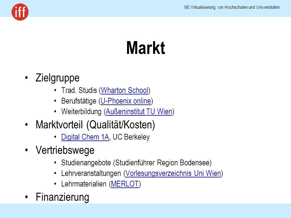 SE Virtualisierung von Hochschulen und Universitäten Markt Zielgruppe Trad.