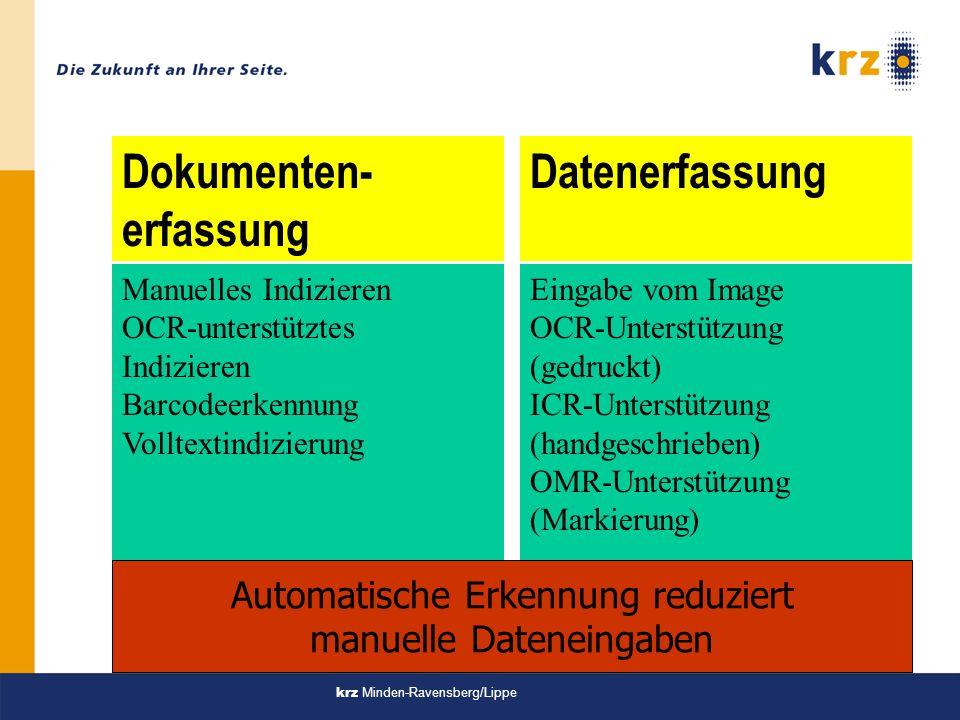 krz Minden-Ravensberg/Lippe Dokumenten- erfassung Datenerfassung Eingabe vom Image OCR-Unterstützung (gedruckt) ICR-Unterstützung (handgeschrieben) OMR-Unterstützung (Markierung) Manuelles Indizieren OCR-unterstütztes Indizieren Barcodeerkennung Volltextindizierung Automatische Erkennung reduziert manuelle Dateneingaben