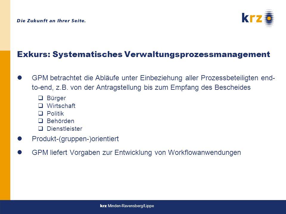 krz Minden-Ravensberg/Lippe Exkurs: Systematisches Verwaltungsprozessmanagement lGPM betrachtet die Abläufe unter Einbeziehung aller Prozessbeteiligten end- to-end, z.B.