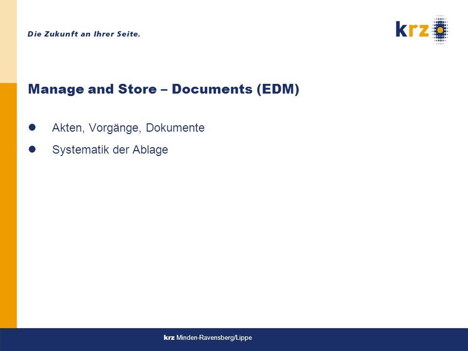 Manage and Store – Documents (EDM) lAkten, Vorgänge, Dokumente lSystematik der Ablage