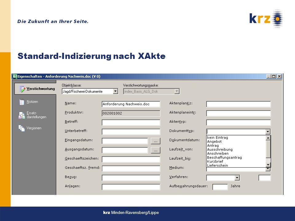 krz Minden-Ravensberg/Lippe Standard-Indizierung nach XAkte