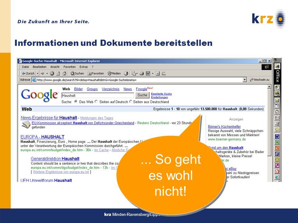 krz Minden-Ravensberg/Lippe Informationen und Dokumente bereitstellen... So geht es wohl nicht!