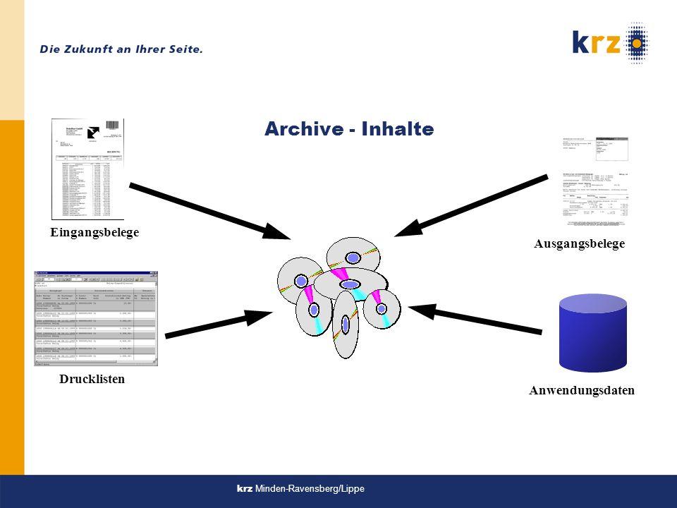 Eingangsbelege Drucklisten Ausgangsbelege Anwendungsdaten Archive - Inhalte