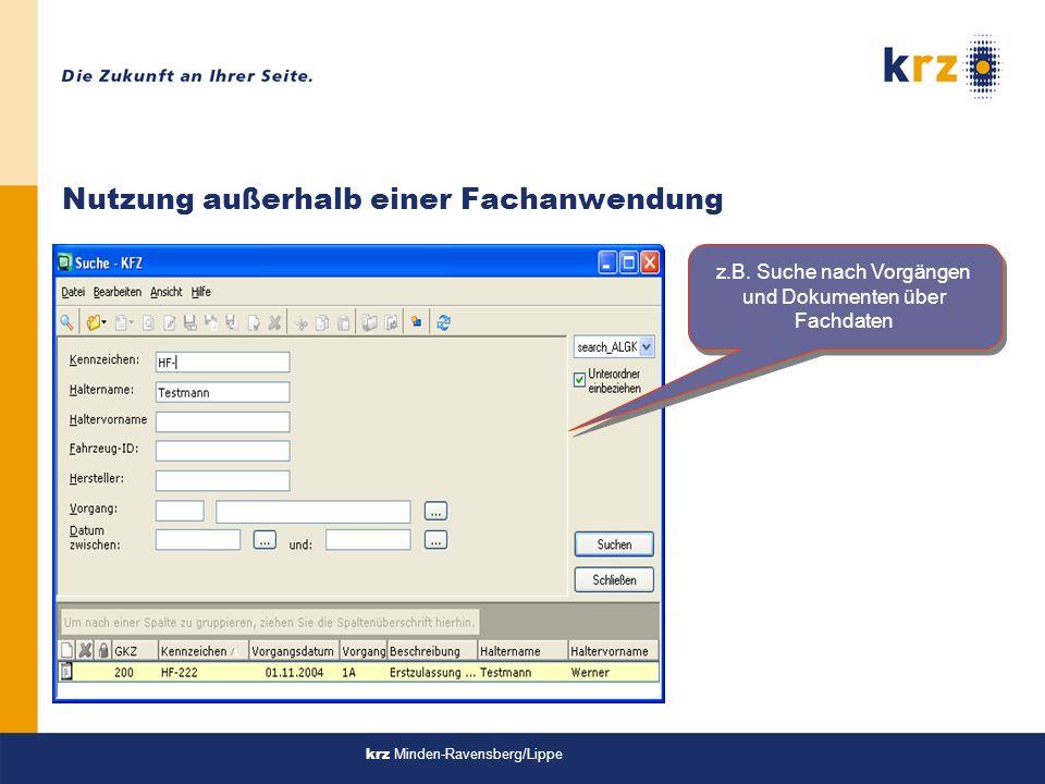 krz Minden-Ravensberg/Lippe Nutzung außerhalb einer Fachanwendung z.B.