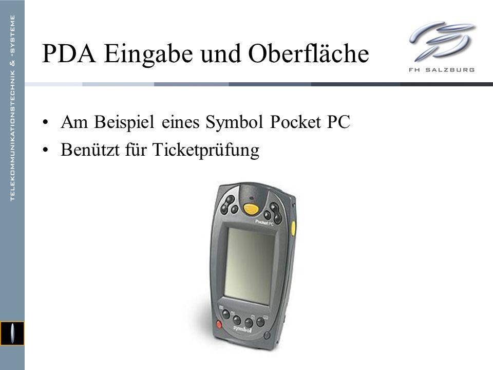 PDA Eingabe und Oberfläche Am Beispiel eines Symbol Pocket PC Benützt für Ticketprüfung
