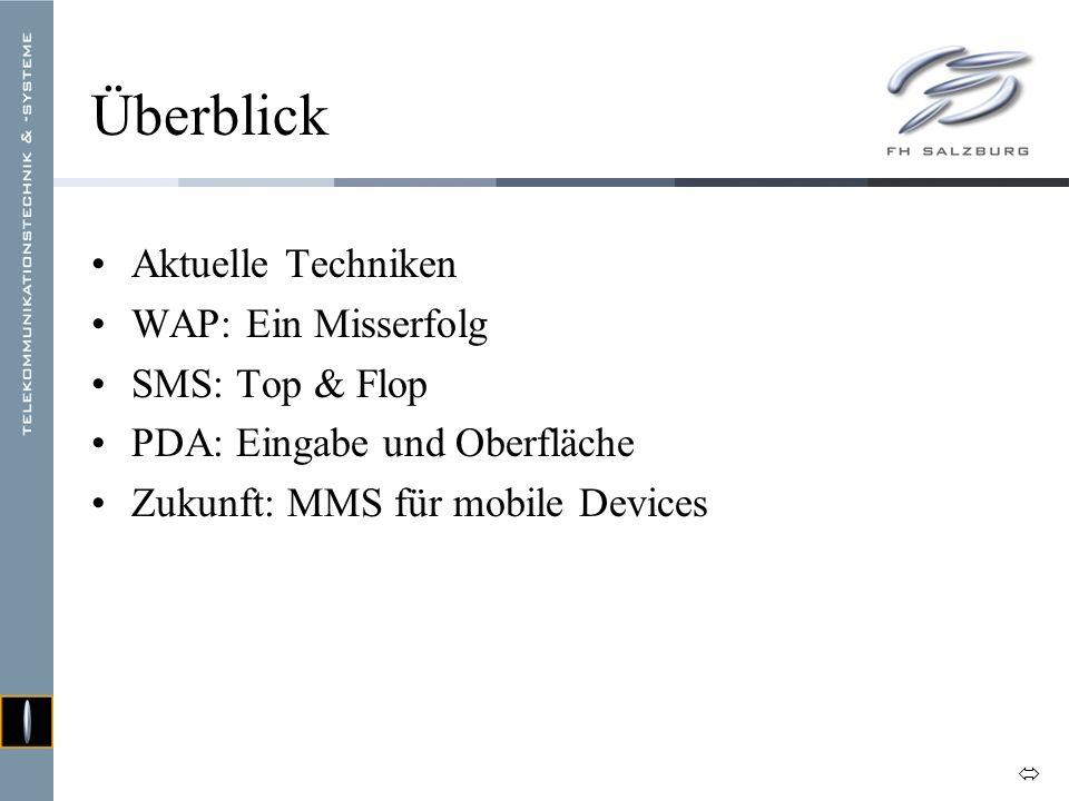 Überblick Aktuelle Techniken WAP: Ein Misserfolg SMS: Top & Flop PDA: Eingabe und Oberfläche Zukunft: MMS für mobile Devices