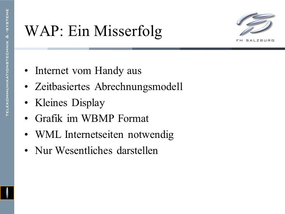 WAP: Ein Misserfolg Internet vom Handy aus Zeitbasiertes Abrechnungsmodell Kleines Display Grafik im WBMP Format WML Internetseiten notwendig Nur Wesentliches darstellen