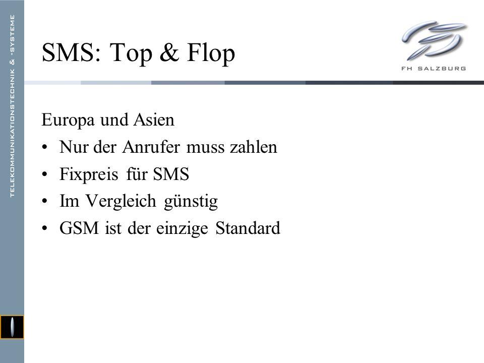 SMS: Top & Flop USA Beiden Teilnehmern (!) wird ein Minutentarif verrechnet SMS = 1 Minute telefonieren Im Vergleich teuer Unterschiedliche Mobilfunkstandards Handy wird nur unterwegs benützt