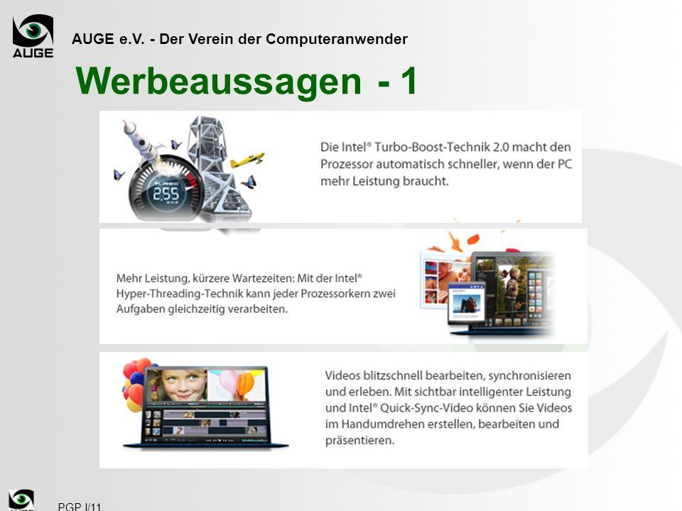 AUGE e.V. - Der Verein der Computeranwender PGP I/11 Werbeaussagen - 1