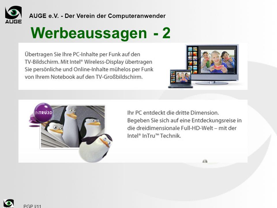 AUGE e.V. - Der Verein der Computeranwender PGP I/11 Werbeaussagen - 2
