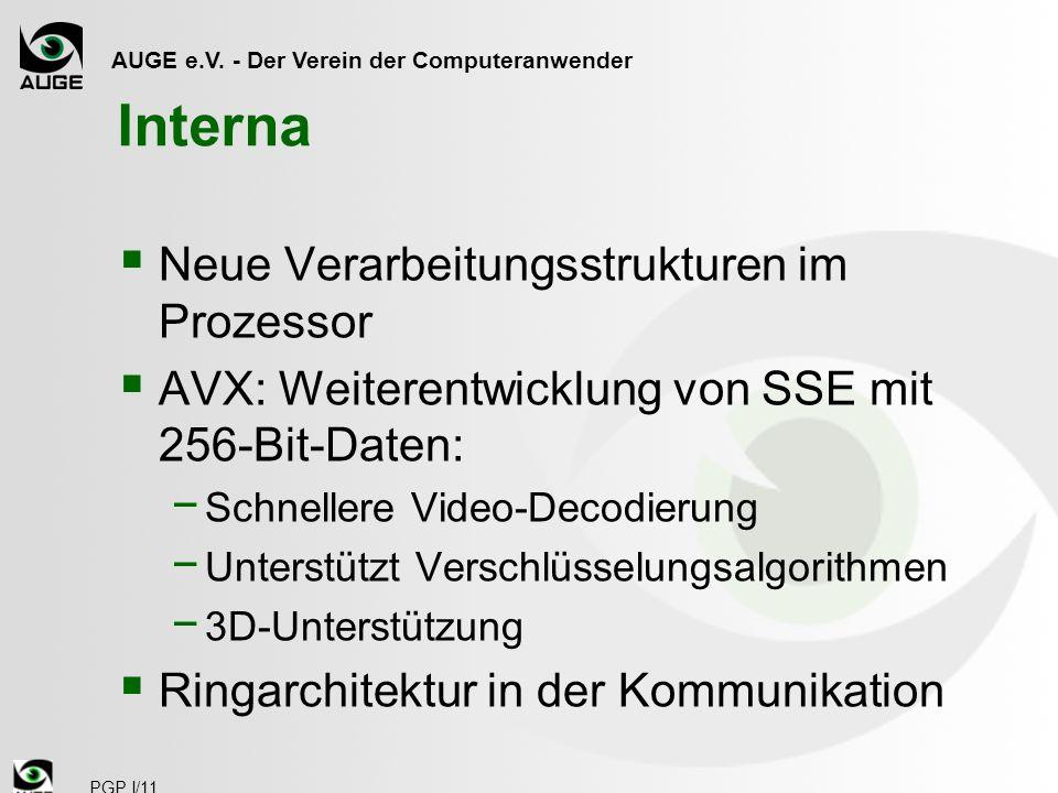 AUGE e.V. - Der Verein der Computeranwender PGP I/11 Interna Neue Verarbeitungsstrukturen im Prozessor AVX: Weiterentwicklung von SSE mit 256-Bit-Date