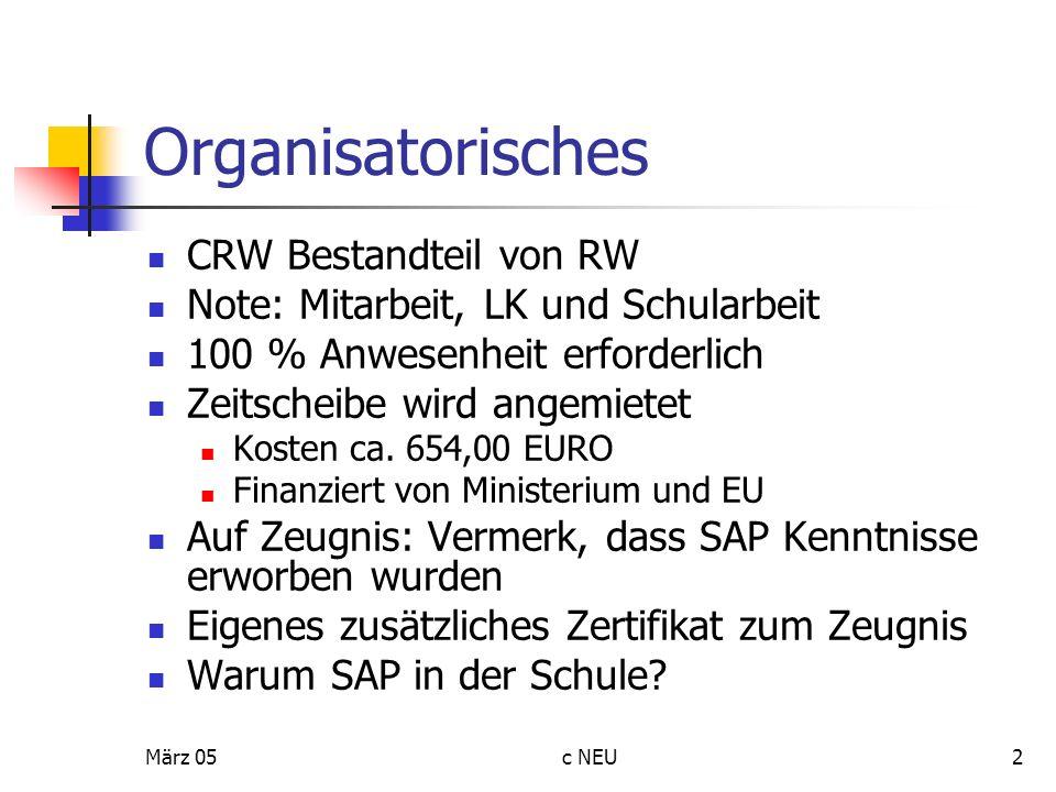März 05c NEU13 Organisationsstruktur SAP Mandant = Konzern = ADES (1 Mandant kann n Buchungsskreise haben) Buchungskreis = eigenständig bilanzierende Einheit = ADES: pib0 (1 Buchungskreis kann n Werke haben) Werk = Produktionsstätte, Standort = ADES: 0001, 0002 (1 Werk kann n Lagerorte haben) Lagerort = Wo wird Ware gelagert = ADES: 0001, 0002 (1 Lagerort kann n Warehouse managements haben) Warehouse management