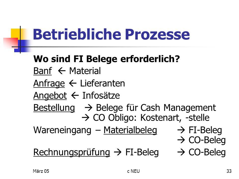 März 05c NEU33 Betriebliche Prozesse Wo sind FI Belege erforderlich? Banf Material Anfrage Lieferanten Angebot Infosätze Bestellung Belege für Cash Ma