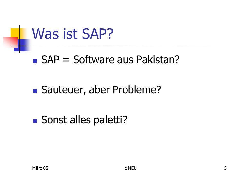 März 05c NEU5 Was ist SAP? SAP = Software aus Pakistan? Sauteuer, aber Probleme? Sonst alles paletti?