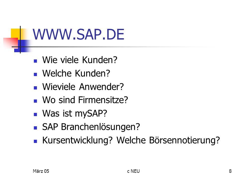 März 05c NEU8 WWW.SAP.DE Wie viele Kunden? Welche Kunden? Wieviele Anwender? Wo sind Firmensitze? Was ist mySAP? SAP Branchenlösungen? Kursentwicklung
