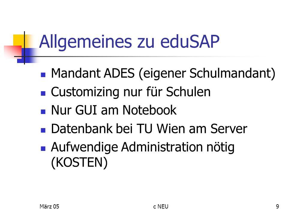 März 05c NEU9 Allgemeines zu eduSAP Mandant ADES (eigener Schulmandant) Customizing nur für Schulen Nur GUI am Notebook Datenbank bei TU Wien am Serve