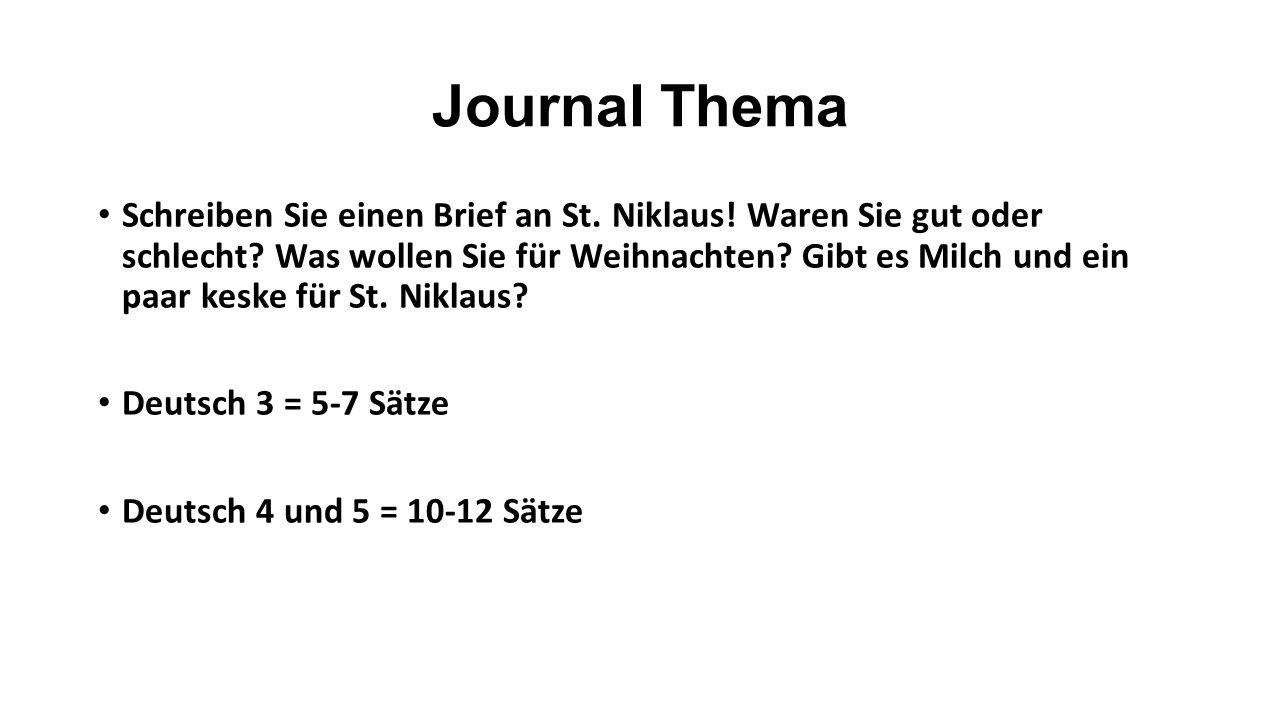 Journal Thema Schreiben Sie einen Brief an St. Niklaus.