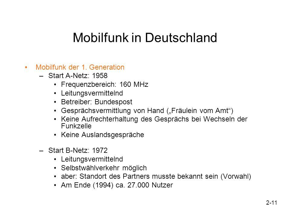 2-11 Mobilfunk in Deutschland Mobilfunk der 1. Generation –Start A-Netz: 1958 Frequenzbereich: 160 MHz Leitungsvermittelnd Betreiber: Bundespost Gespr