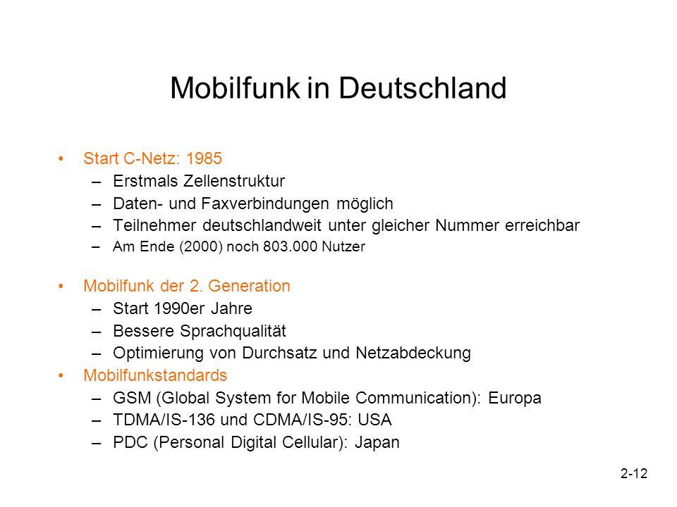 2-12 Mobilfunk in Deutschland Start C-Netz: 1985 –Erstmals Zellenstruktur –Daten- und Faxverbindungen möglich –Teilnehmer deutschlandweit unter gleich