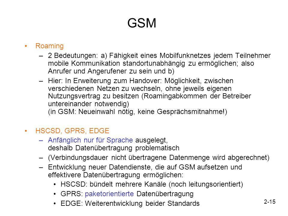 2-15 GSM Roaming –2 Bedeutungen: a) Fähigkeit eines Mobilfunknetzes jedem Teilnehmer mobile Kommunikation standortunabhängig zu ermöglichen; also Anru