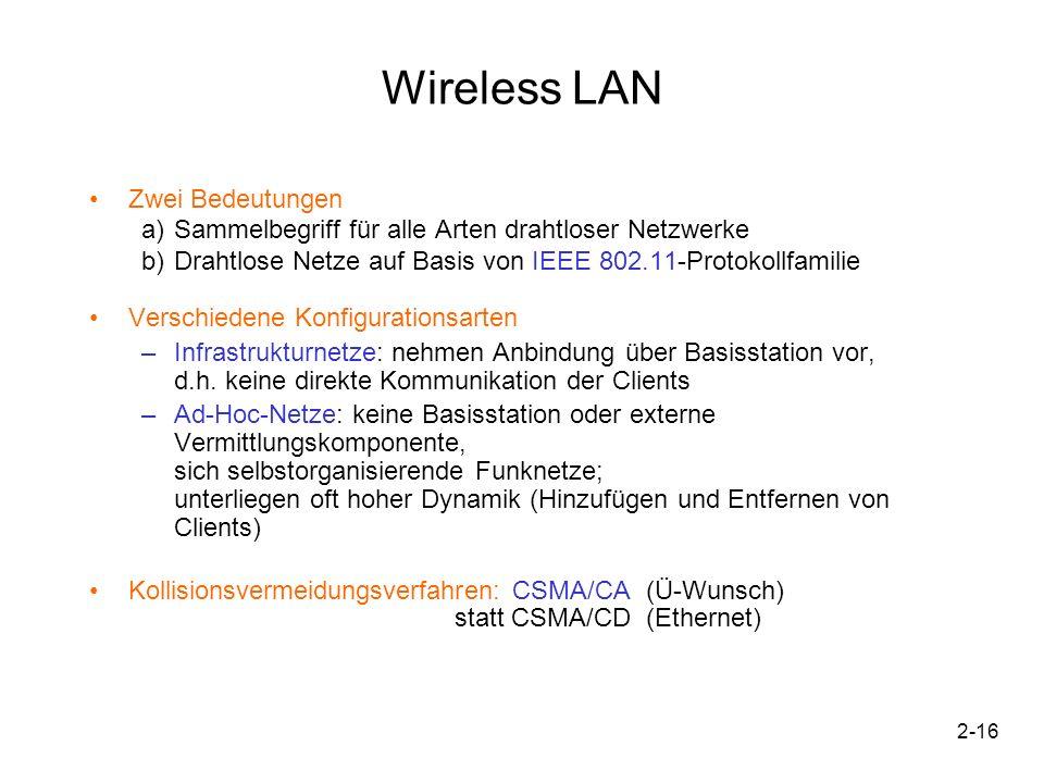 2-16 Wireless LAN Zwei Bedeutungen a)Sammelbegriff für alle Arten drahtloser Netzwerke b)Drahtlose Netze auf Basis von IEEE 802.11-Protokollfamilie Ve