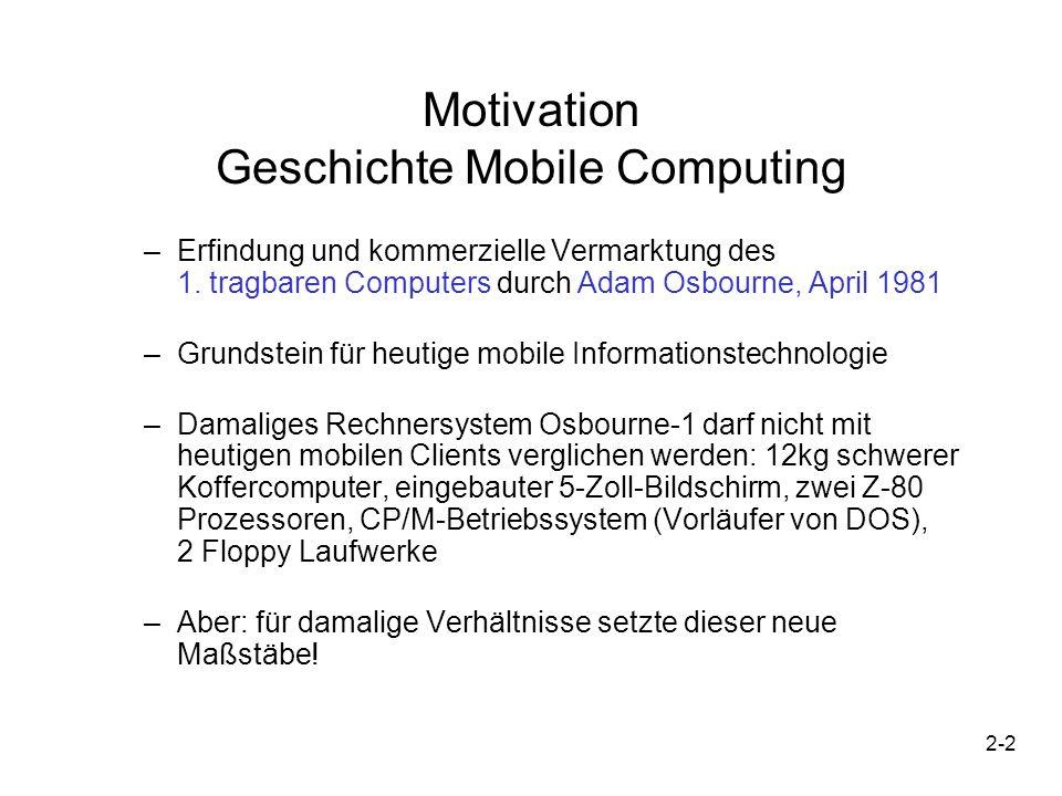 2-2 Motivation Geschichte Mobile Computing –Erfindung und kommerzielle Vermarktung des 1. tragbaren Computers durch Adam Osbourne, April 1981 –Grundst