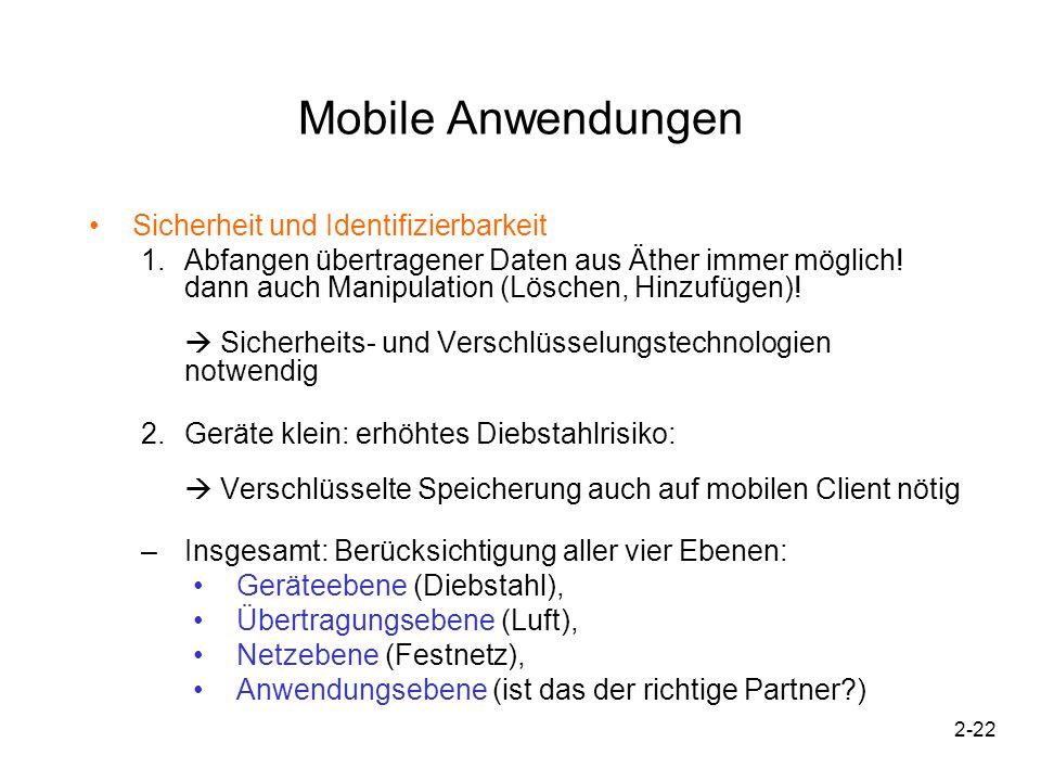 2-22 Mobile Anwendungen Sicherheit und Identifizierbarkeit 1.Abfangen übertragener Daten aus Äther immer möglich! dann auch Manipulation (Löschen, Hin