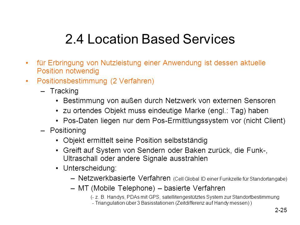 2-25 2.4 Location Based Services für Erbringung von Nutzleistung einer Anwendung ist dessen aktuelle Position notwendig Positionsbestimmung (2 Verfahr