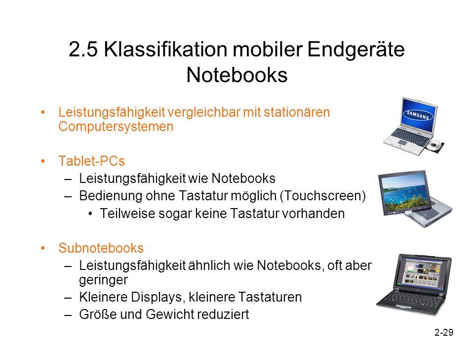 2-29 2.5 Klassifikation mobiler Endgeräte Notebooks Leistungsfähigkeit vergleichbar mit stationären Computersystemen Tablet-PCs –Leistungsfähigkeit wi