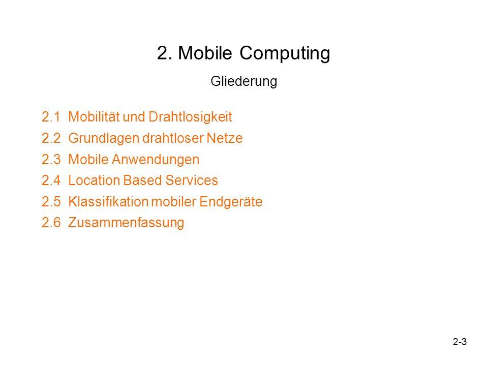 2-3 2. Mobile Computing Gliederung 2.1 Mobilität und Drahtlosigkeit 2.2 Grundlagen drahtloser Netze 2.3 Mobile Anwendungen 2.4 Location Based Services