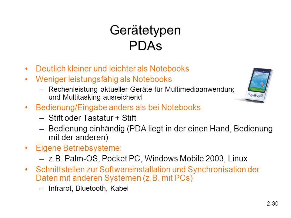 2-30 Gerätetypen PDAs Deutlich kleiner und leichter als Notebooks Weniger leistungsfähig als Notebooks –Rechenleistung aktueller Geräte für Multimedia