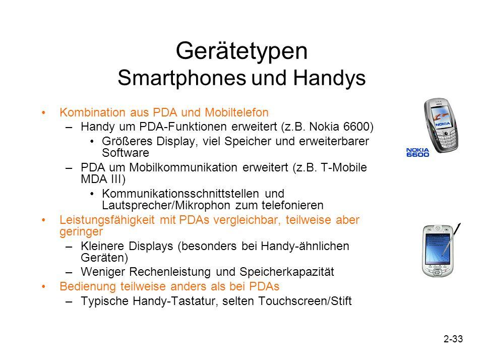 2-33 Gerätetypen Smartphones und Handys Kombination aus PDA und Mobiltelefon –Handy um PDA-Funktionen erweitert (z.B. Nokia 6600) Größeres Display, vi