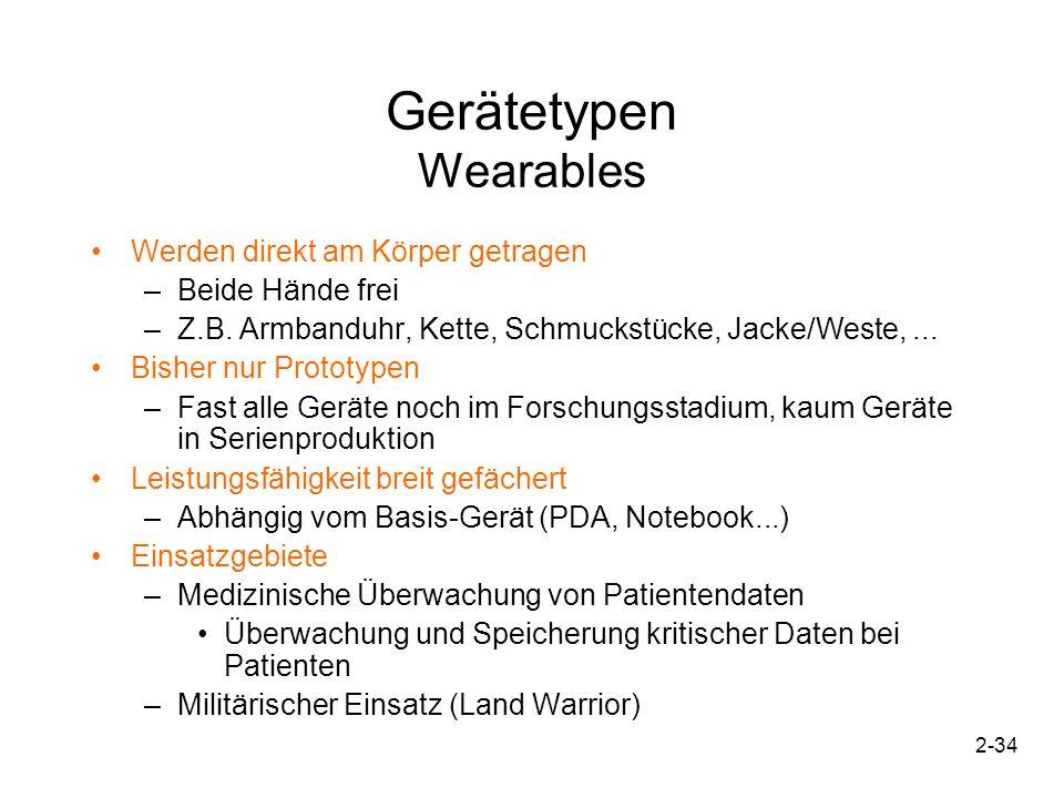 2-34 Gerätetypen Wearables Werden direkt am Körper getragen –Beide Hände frei –Z.B. Armbanduhr, Kette, Schmuckstücke, Jacke/Weste,... Bisher nur Proto