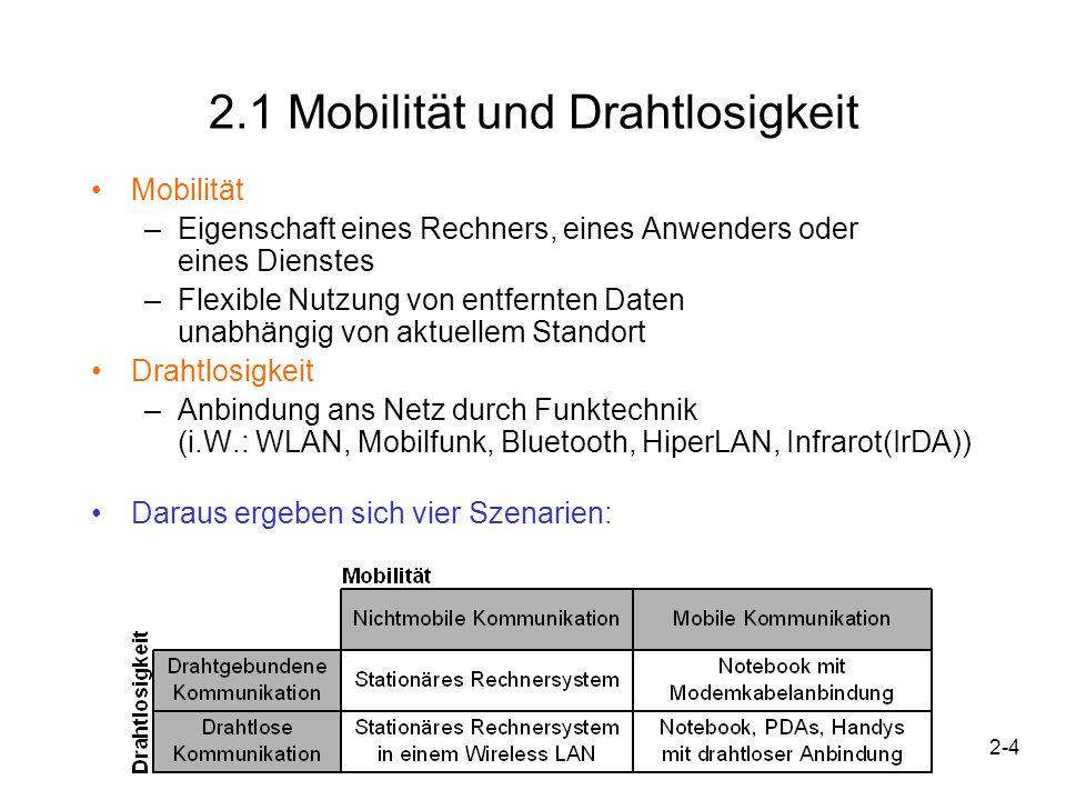 2-4 2.1 Mobilität und Drahtlosigkeit Mobilität –Eigenschaft eines Rechners, eines Anwenders oder eines Dienstes –Flexible Nutzung von entfernten Daten