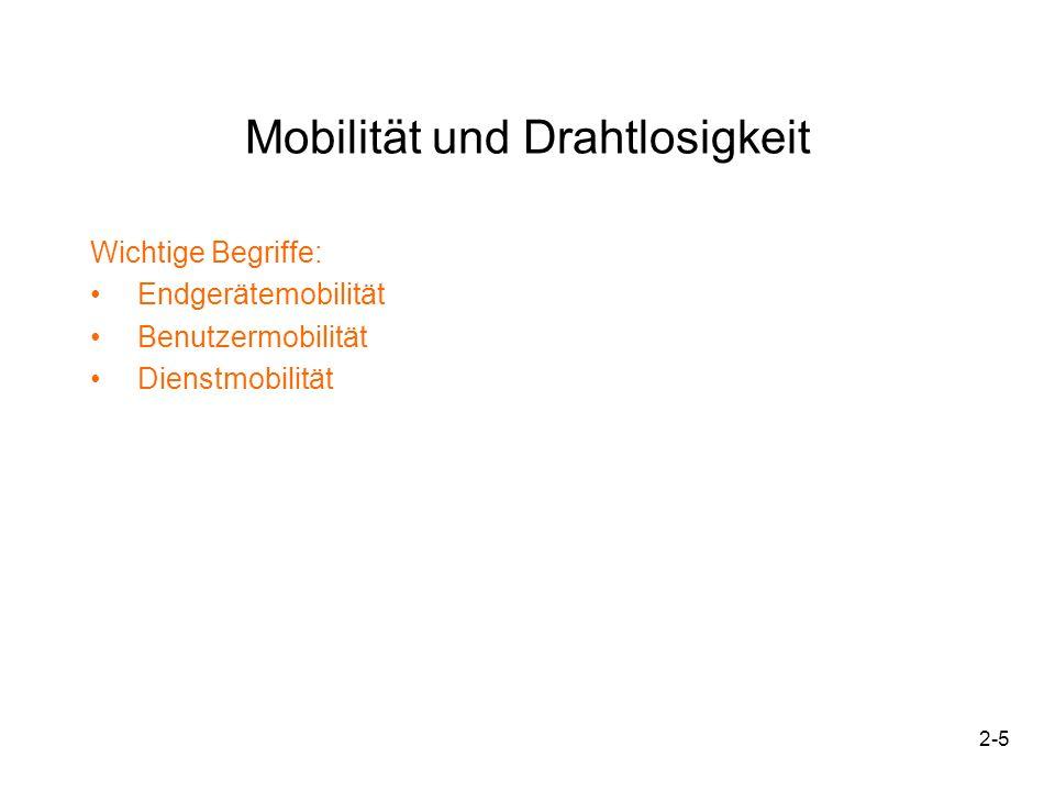 2-5 Mobilität und Drahtlosigkeit Wichtige Begriffe: Endgerätemobilität Benutzermobilität Dienstmobilität