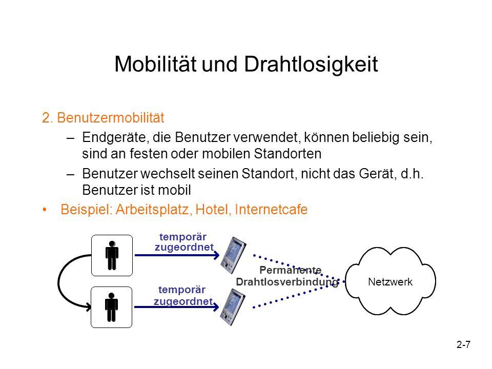 2-7 temporär zugeordnet Permanente DrahtlosverbindungNetzwerk temporär zugeordnet Mobilität und Drahtlosigkeit 2. Benutzermobilität –Endgeräte, die Be