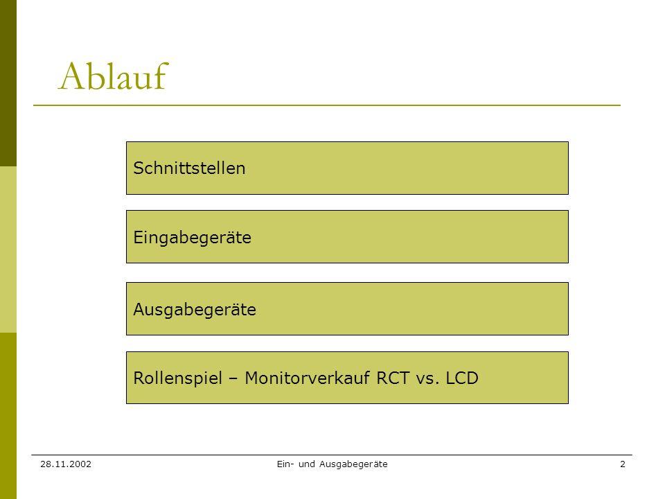 28.11.2002Ein- und Ausgabegeräte2 Ablauf Schnittstellen Eingabegeräte Ausgabegeräte Rollenspiel – Monitorverkauf RCT vs. LCD