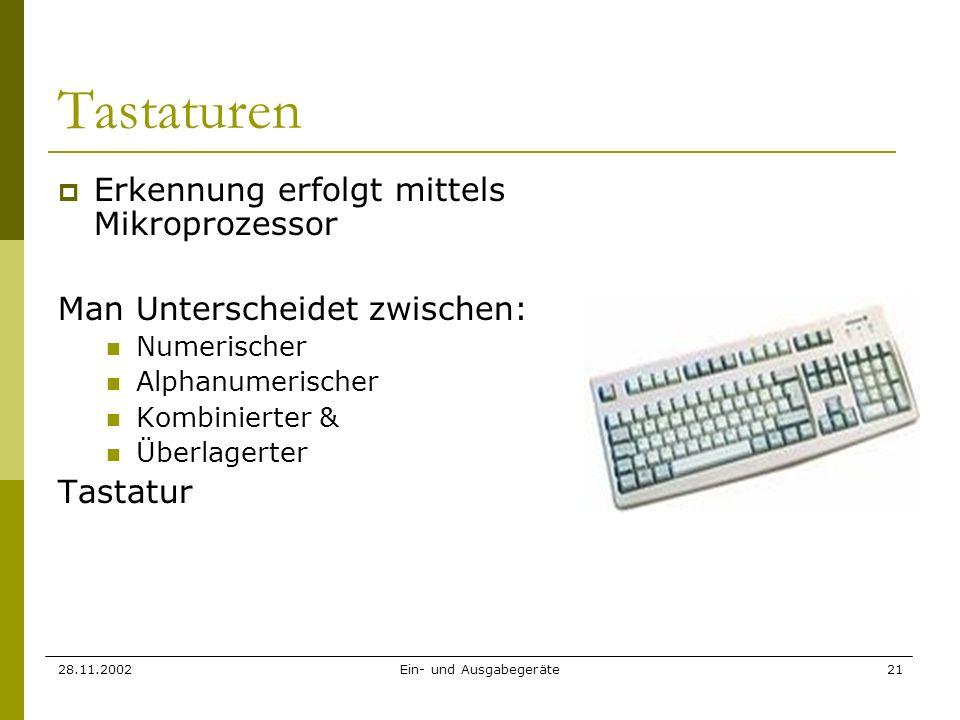 28.11.2002Ein- und Ausgabegeräte21 Tastaturen Erkennung erfolgt mittels Mikroprozessor Man Unterscheidet zwischen: Numerischer Alphanumerischer Kombin