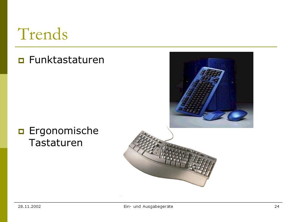 28.11.2002Ein- und Ausgabegeräte24 Trends Funktastaturen Ergonomische Tastaturen