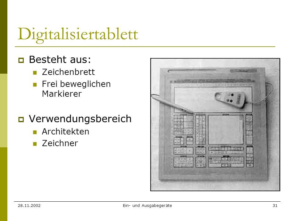 28.11.2002Ein- und Ausgabegeräte31 Digitalisiertablett Besteht aus: Zeichenbrett Frei beweglichen Markierer Verwendungsbereich Architekten Zeichner