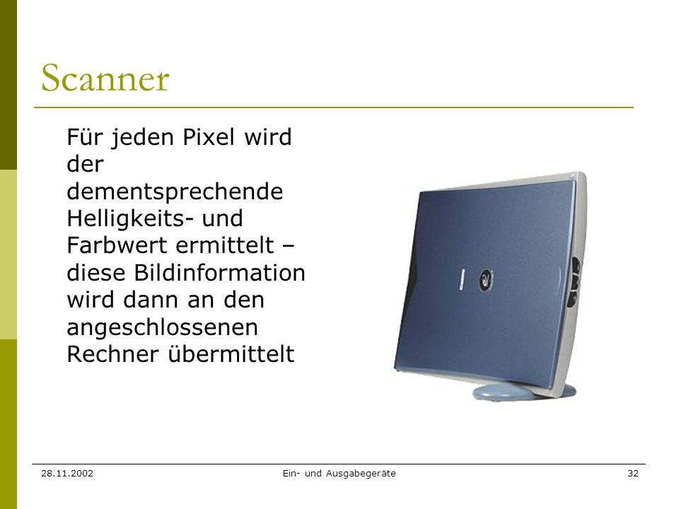 28.11.2002Ein- und Ausgabegeräte32 Scanner Für jeden Pixel wird der dementsprechende Helligkeits- und Farbwert ermittelt – diese Bildinformation wird