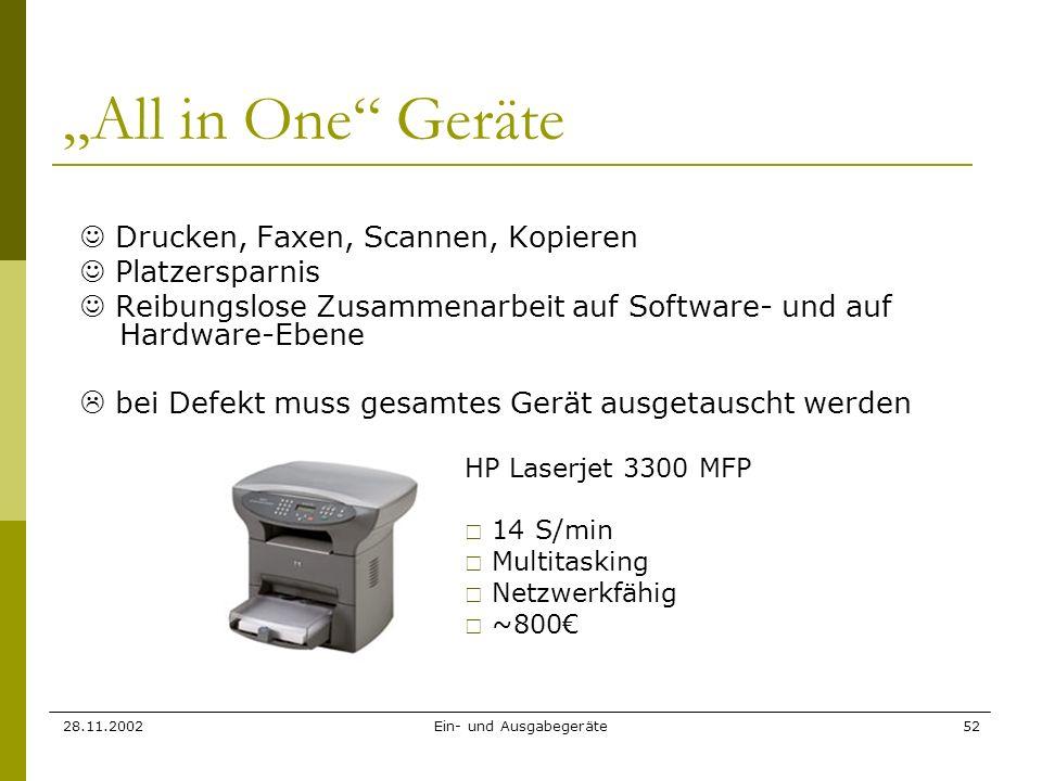 28.11.2002Ein- und Ausgabegeräte52 All in One Geräte Drucken, Faxen, Scannen, Kopieren Platzersparnis Reibungslose Zusammenarbeit auf Software- und au