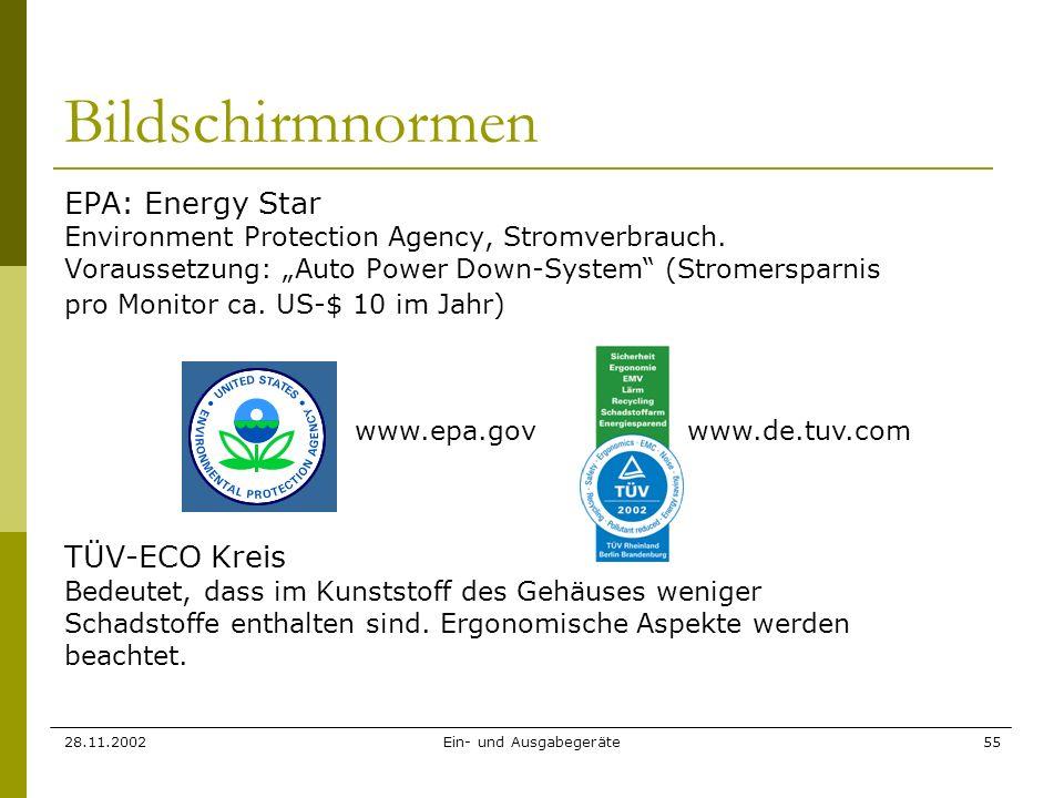 28.11.2002Ein- und Ausgabegeräte55 Bildschirmnormen EPA: Energy Star Environment Protection Agency, Stromverbrauch. Voraussetzung: Auto Power Down-Sys