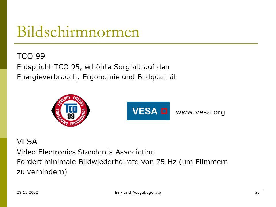 28.11.2002Ein- und Ausgabegeräte56 Bildschirmnormen TCO 99 Entspricht TCO 95, erhöhte Sorgfalt auf den Energieverbrauch, Ergonomie und Bildqualität VE