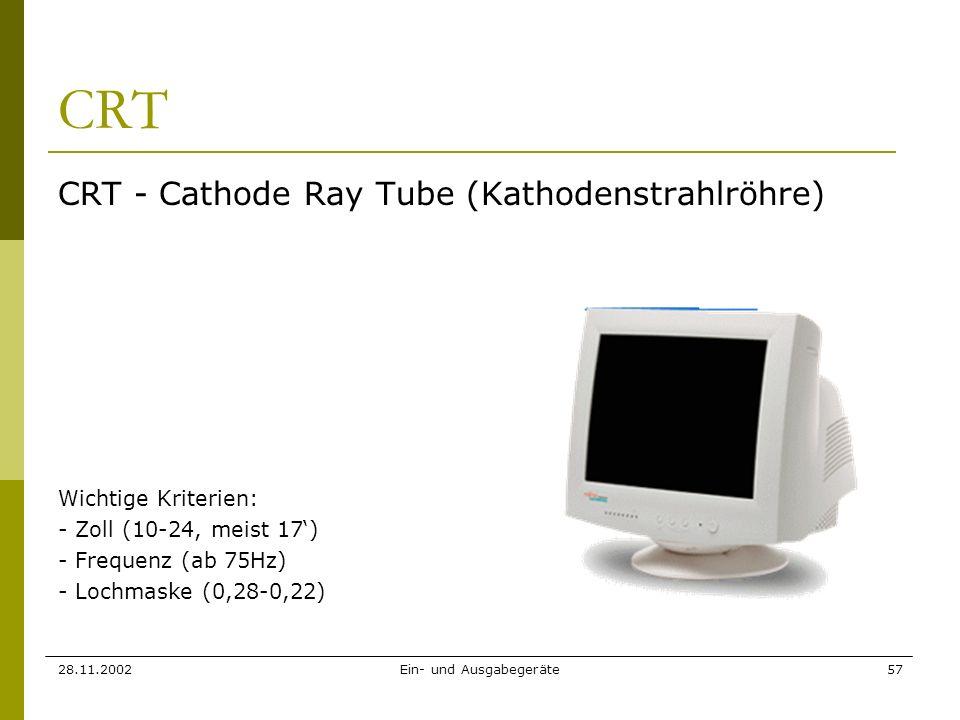 28.11.2002Ein- und Ausgabegeräte57 CRT CRT - Cathode Ray Tube (Kathodenstrahlröhre) Wichtige Kriterien: - Zoll (10-24, meist 17) - Frequenz (ab 75Hz)