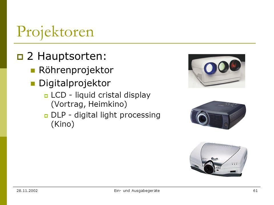 28.11.2002Ein- und Ausgabegeräte61 Projektoren 2 Hauptsorten: Röhrenprojektor Digitalprojektor LCD - liquid cristal display (Vortrag, Heimkino) DLP -