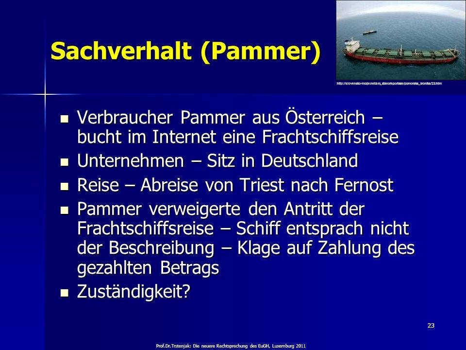 Prof.Dr.Trstenjak: Die neuere Rechtsprechung des EuGH, Luxemburg 2011 23 Sachverhalt (Pammer) Verbraucher Pammer aus Österreich – bucht im Internet ei