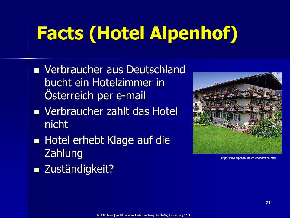 Prof.Dr.Trstenjak: Die neuere Rechtsprechung des EuGH, Luxemburg 2011 24 Facts (Hotel Alpenhof) Verbraucher aus Deutschland bucht ein Hotelzimmer in Ö