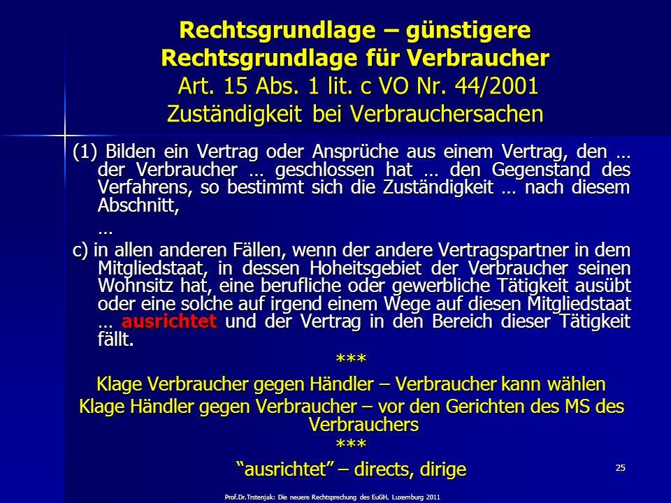 Prof.Dr.Trstenjak: Die neuere Rechtsprechung des EuGH, Luxemburg 2011 25 Rechtsgrundlage – günstigere Rechtsgrundlage für Verbraucher Art. 15 Abs. 1 l