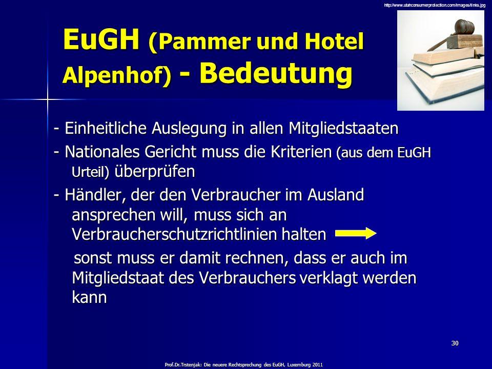 Prof.Dr.Trstenjak: Die neuere Rechtsprechung des EuGH, Luxemburg 2011 30 EuGH (Pammer und Hotel Alpenhof) - Bedeutung - Einheitliche Auslegung in alle